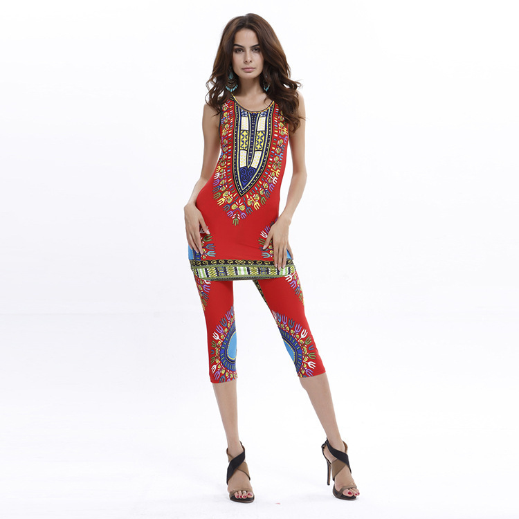 Women Summer 2 Piece Outfits Bodycon Dashiki Top Shirt And Leggings African Traditional Print Clothing Womens 2Pcs/Set(China (Mainland))
