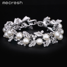 Buy Mecresh Simulated Pearl Bracelets Women Silver Color Link Chain Crystal Bridal Wedding Jewelry Bracelets & Bangles SL089 for $5.13 in AliExpress store