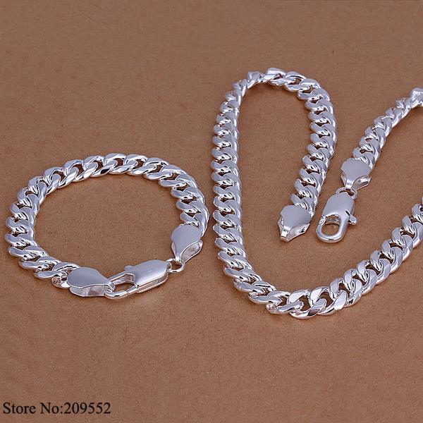 S099 925 Silver Sets,925 Fashion Jewelry Sets Sterling silver 10mm Flat chain necklace bracelet set Men - Amanda Store store