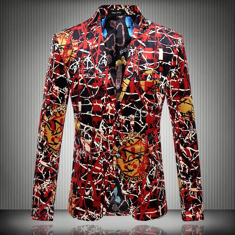 2016 new Flower blazer jacket male slim fashion men's fashion personality flat flannelette print coat high quality prom groom(China (Mainland))