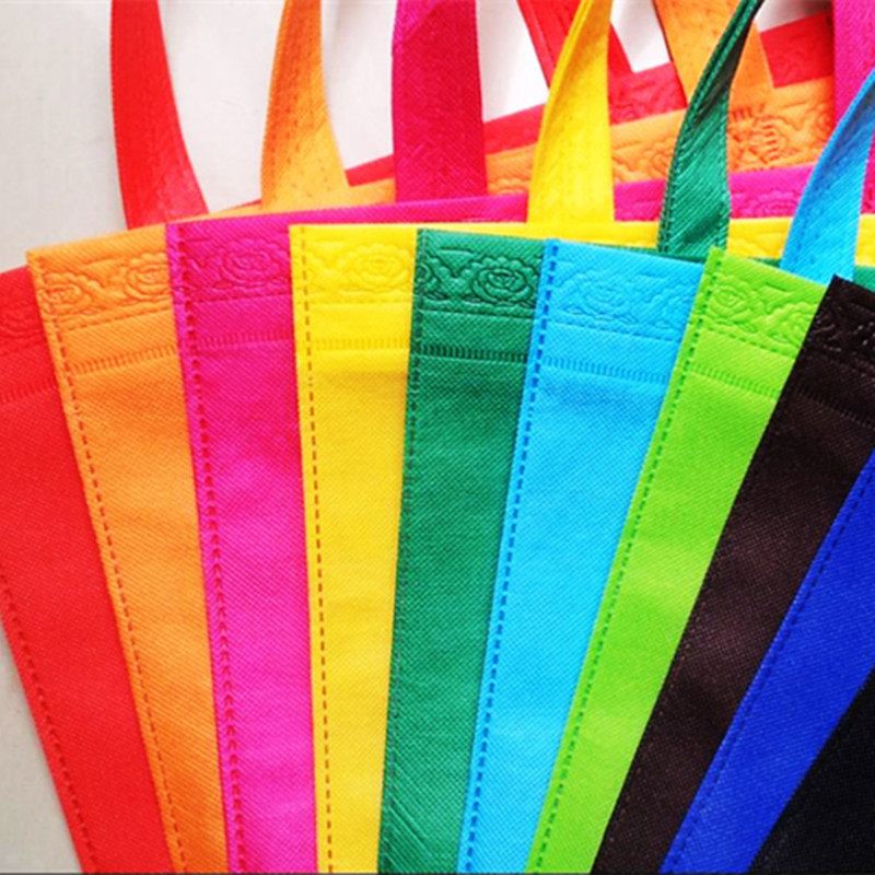 50pcs/LOT Size 33*26*10cm10 Different colour non woven shopping bags recyle non woven bags with handles(China (Mainland))