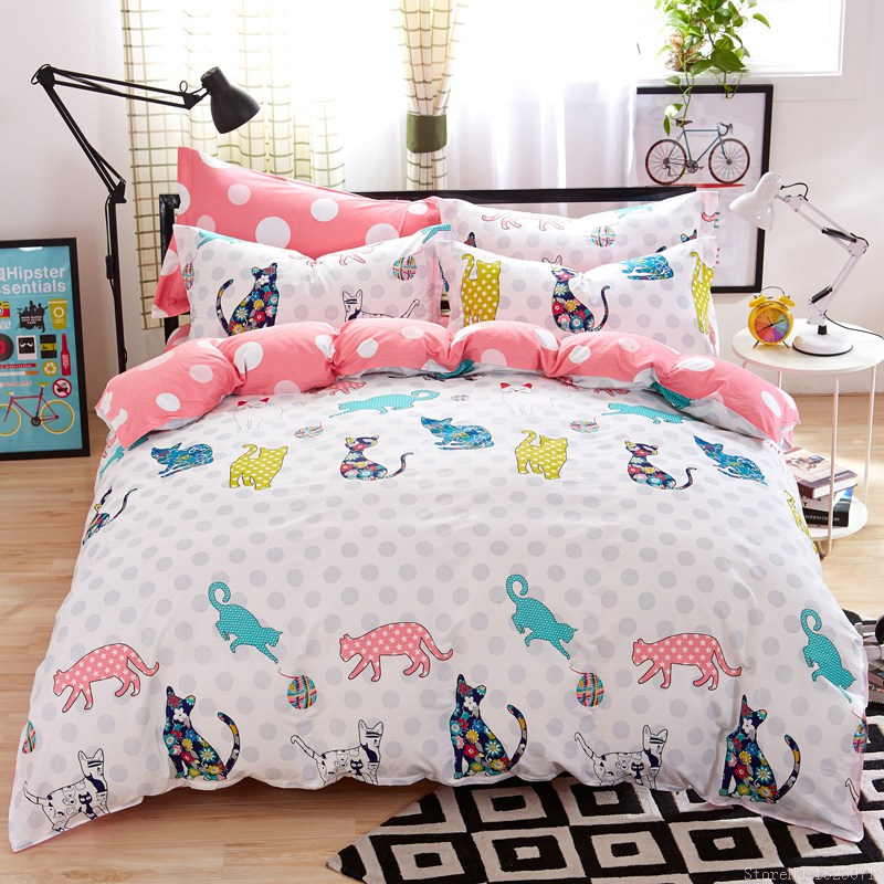 Girls kitty cat print bedding cotton kids bed linen online cheap bedding twins queen king size home textile bedding sale(China (Mainland))