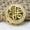 Jewelry Making Supplies 12mm Gold Round Metal DIY Fittings Zirconia Beads For Girls Bracelet DIY Accessories