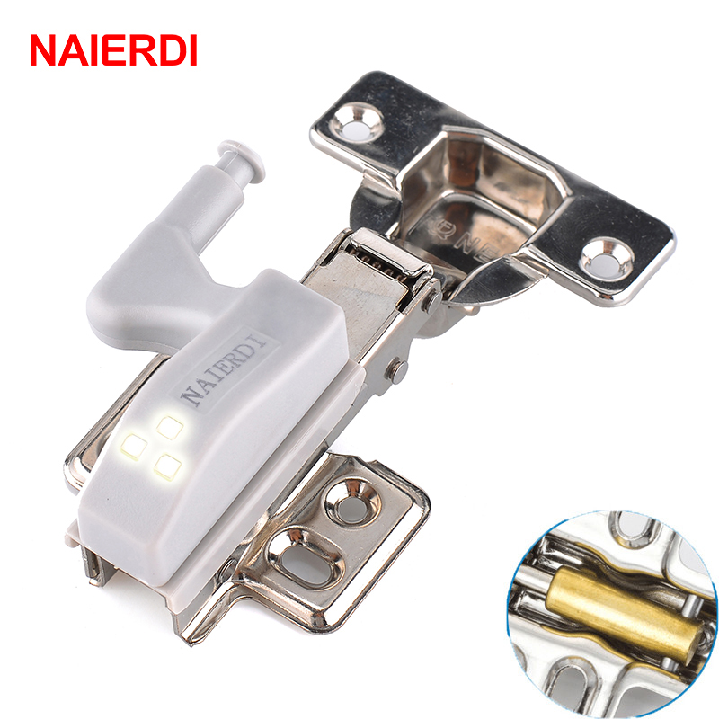 NAIERDI Stainless Steel Hydraulic Hinge With Copper Damper Buffer Cabinet Kitchen Door Hinges With 0.25W LED Sensor Light(China (Mainland))