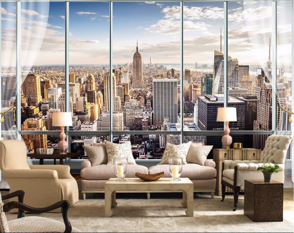 Custom Photo Wallpaper 3D Stereo Large Murals Modern False windows living sofa bed bedroom New York flash silver cloth wallpaper(China (Mainland))