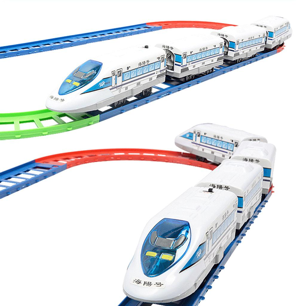 Electric Train Vehicle Toys 8 Railways+4 Trains Scale Model HAIYANG Brand Train Set For Kids Boys Birthday Gift(China (Mainland))