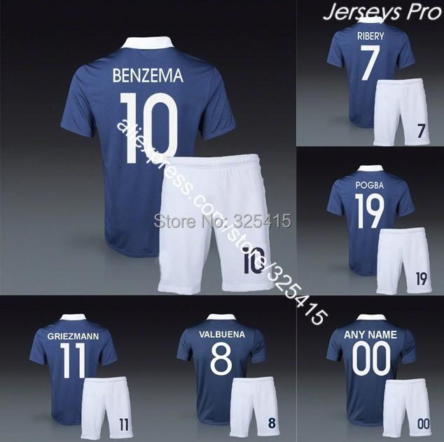 Maillots de Soccer uniforms navy dark blue griezmann paul pogba valbuena giroud benzema zidane abidal ribery jersey football kit(China (Mainland))