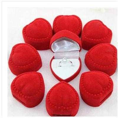 10 Pcs Heart Shaped Ring Box Mini Cute Red Carrying Cases For Rings Hot Sale Display Box Jewelry Packaging(China (Mainland))