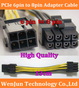 High Quality PCI Express 6 pin to 8 pin Power Adapter Cable PCIe  6pin to 8pin video card  cable  for GTX260 GTX 280