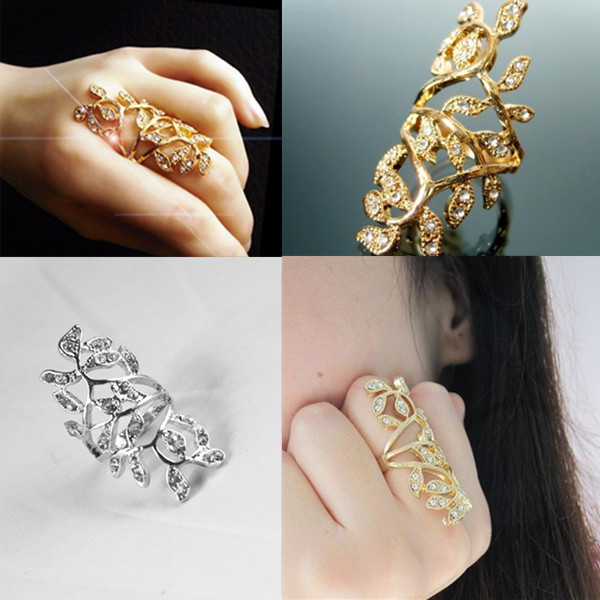 New Arrival Elegant Women Bling Rings Full Gold/Silver Crystal Hollow Scroll Armor Joint Knuckle Plated Finger Ring(China (Mainland))