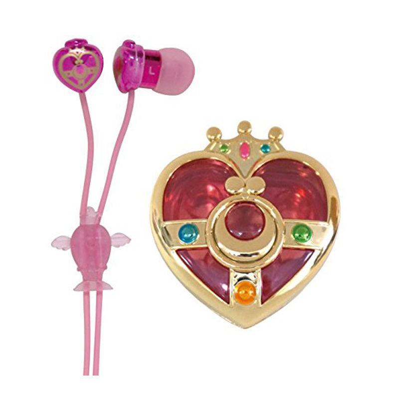 Japanese Anime Original Bandai Sailor Moon 20th Anniversary Compact Cosmic Heart Case 3.5mm Earphone Headset(China (Mainland))