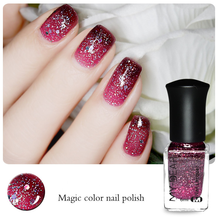 1 Bottle 6ml Glitter Thermal Nail Polish Color Changing