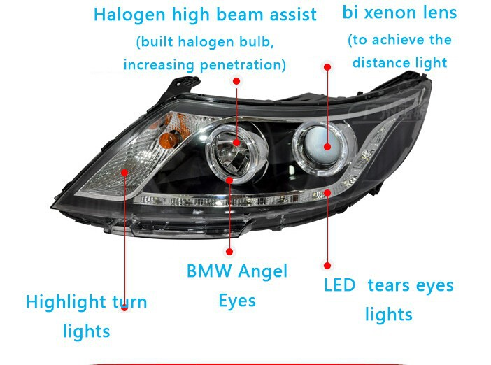 Auto Clud 2011-2014 For kia rio k2 headlights LED DRL parking lights tears eyes bi xenon lens For kia k2 head lamps car styling
