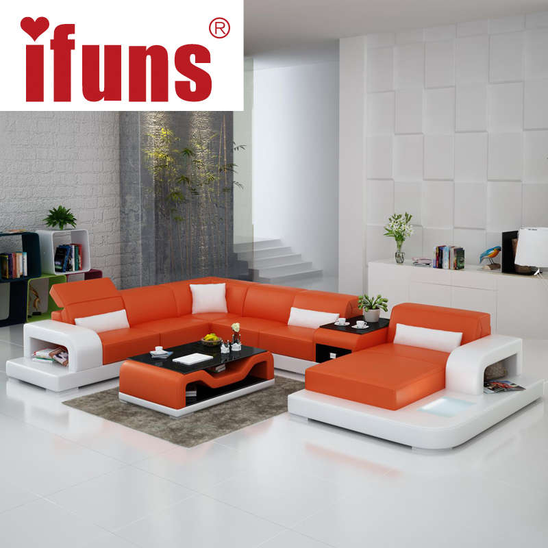 Ifuns extra large size u shaped couch genuine leather - Big size couch ...