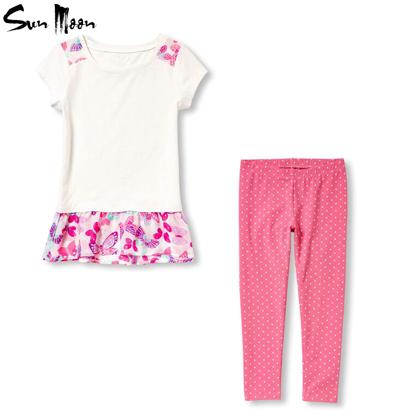 Hot girls clothing sets girl dress + cotton leggings summer children clothing set fashion baby kids girls clothes suit 2-7year(China (Mainland))