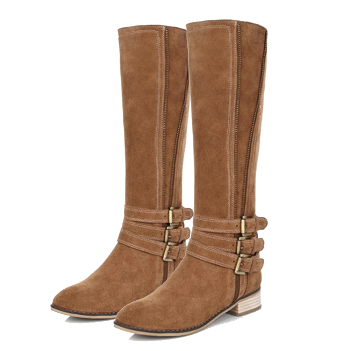 Free shipping women Full Grain Leather Flat Slip-On Knee High Boots winter Motorcycle riding boots for women (black / brown )(China (Mainland))