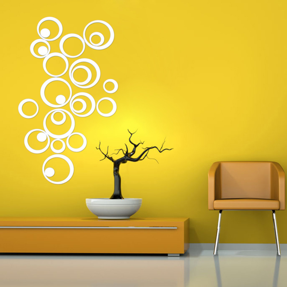 Diy 25pcs artistic round wall stickers silver 3d acrylic for Stickers 3d pared