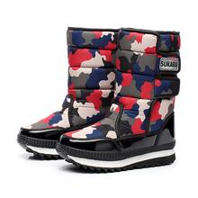 Plataforma impermeable nieve mujeres calientes del invierno antideslizante camuflaje abajo mujeres exterior botas de nieve zapatos calientes botas de neve(China (Mainland))