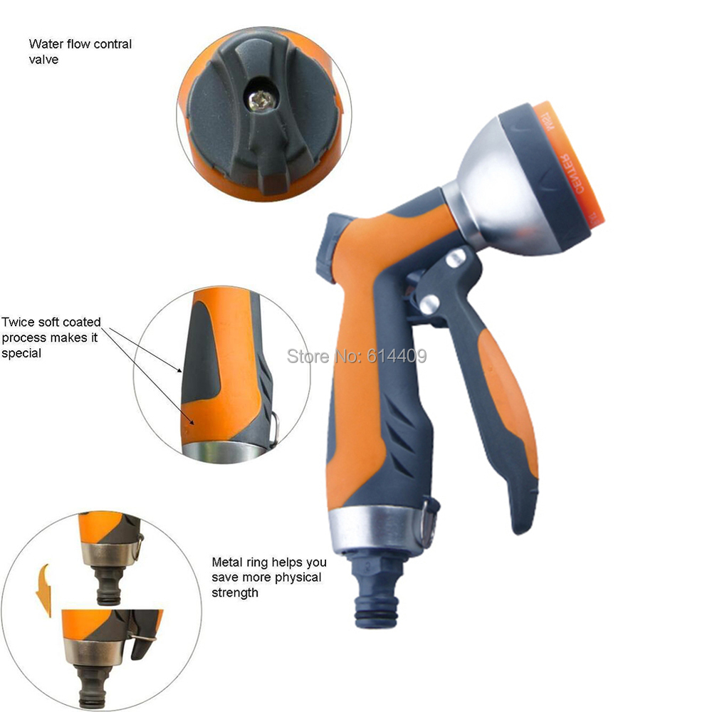 Patterns of Center,Mist,Cone,Full,Angle,Shower,Flat Spray Gun for Garden Irrigation as Water Gun for Irrigation and Pets Clean