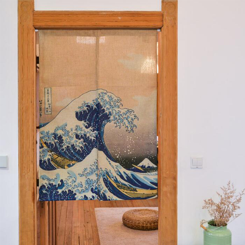 Japanese door curtain linen cotton waves printed short curtains for living room creative kitchen - Kitchen door curtains ...