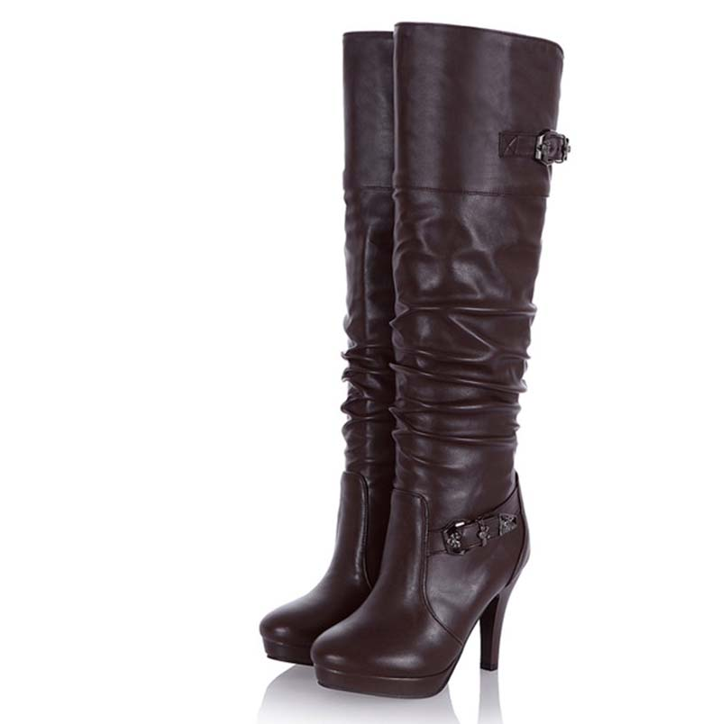 Platform Knee-High Boots For Women New Thin Heels Fashion Winter Long Boots Soft Leather Black Brown Size34-39<br><br>Aliexpress