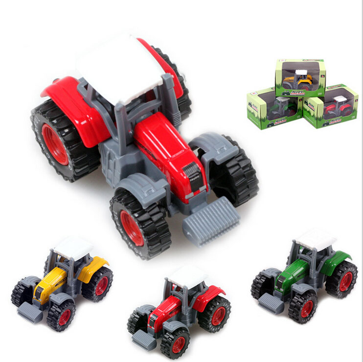 High quality alloy happiness farm tractor model children mini pull back truck toys(China (Mainland))