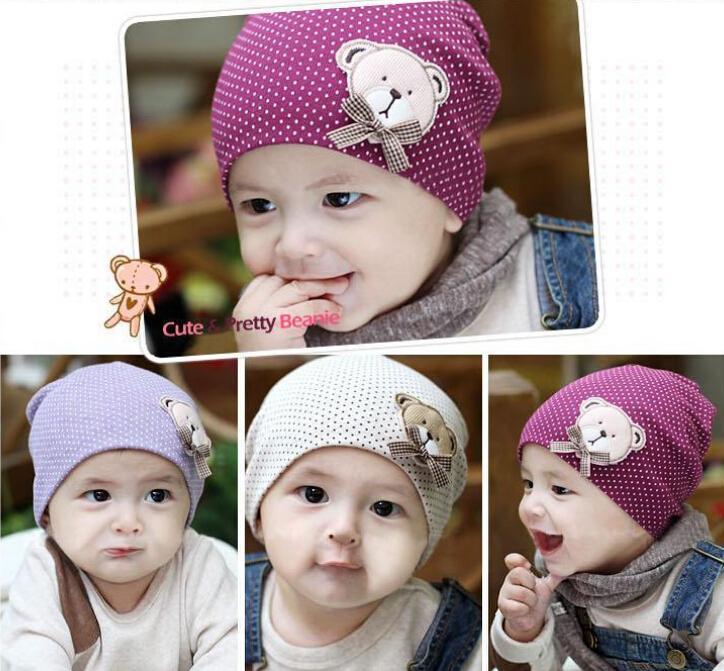 Cute Winter Autumn Newborn Crochet warm Cotton Baby beanie Hat Girl Boy Cap Children Unisex Bear Infant(China (Mainland))