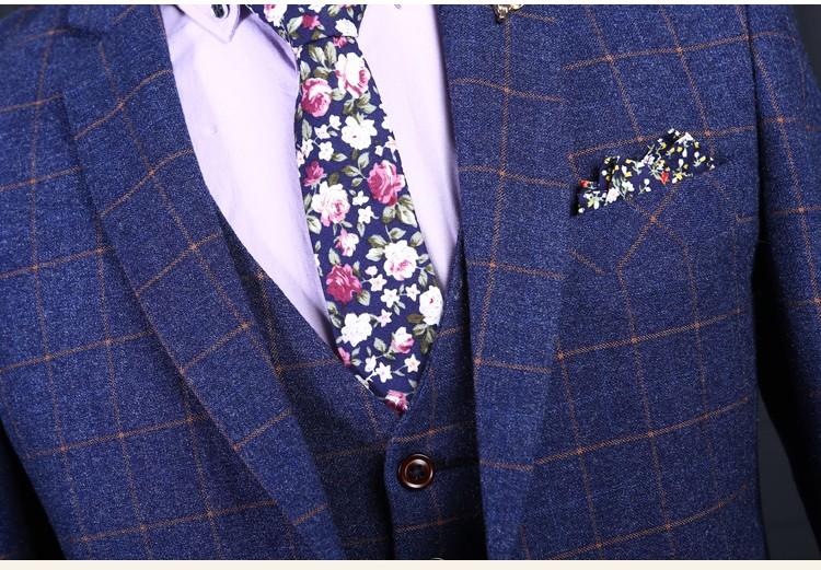 3 Piece Custom Brand Men's Suits Blue Plaid Style Fashion Slim Fit Blazers High Quality Wedding Prom Business Male Tuxedo