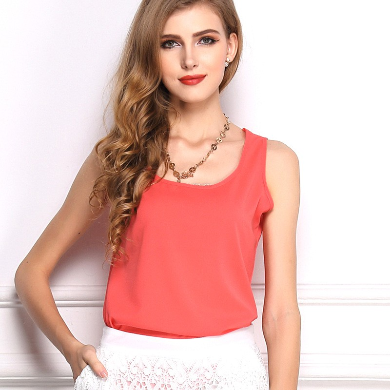 15 Candy Colors New Fashion 2016 Women Clothes Casual Sleeveless Tank Tops Round Neck Ladies Chiffon Top T-Shirt Vest