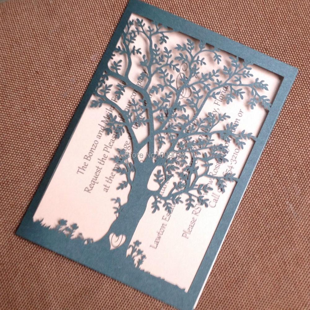 Lasergeschnittenen Baum Hochzeitseinladungen | Schwarz ...