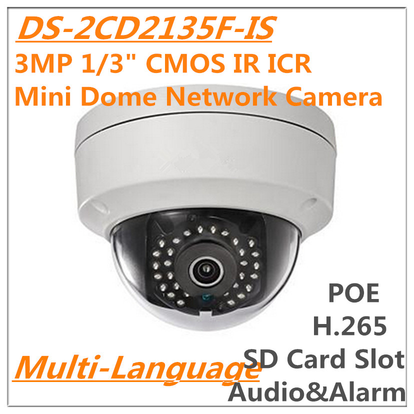 Multi Language DS-2CD2135F-IS 3MP 1/3 ICR Mini Dome Network IP camera replace DS-2CD2132F-IS 1080P HD POE IP67 SD card slot<br><br>Aliexpress