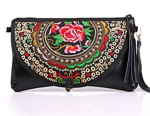 2014 national wind cash cow embroidery bells leather girl's hand bag women messenger bags handbag Evening