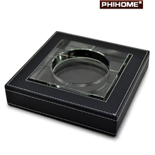 Fashion Quality Black Leather Crystal Personalized Large Cigar Ashtray(China (Mainland))