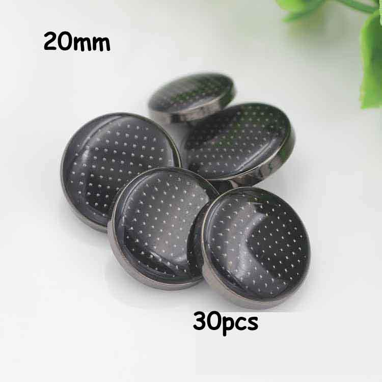 20mm 30pcs gun black point edge lattice transparent oil metal coat buttons suit button sewing supplies decorative buttons(China (Mainland))