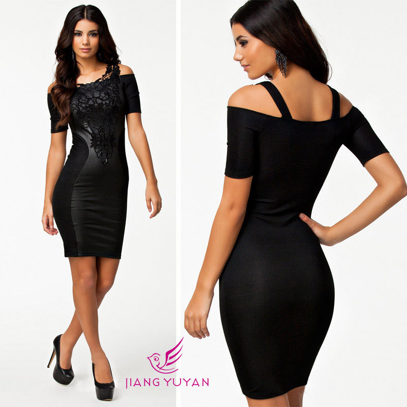 2015 European American Women Lace Summer Dress Sexy Black Bodycon Dress Patchwork Casual Clothing with Embroidery Vestidos Novos(China (Mainland))
