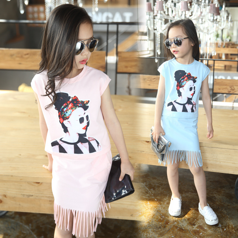 free shipping 2016 summer new fashion girl suit Children's beauty short + fringed skirt two-piece for girl clothes sets(China (Mainland))