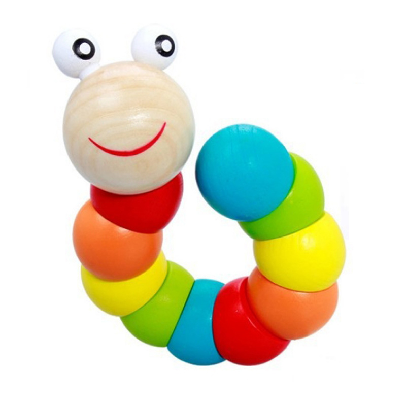 Colorful Insects Puzzles Kids Educational Wooden Toys Baby Children Fingers Flexible Training Science Twisting Worm Toys(China (Mainland))