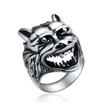 Men's Gothic Cool New Wolf Head Design Stainless Steel Ring Gift Hot Jewelry