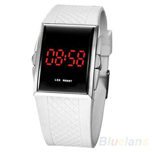 Men Women Casual Unisex White Black LED Digital Sports Wrist Watch Wristwatch Date Clock 1D4J