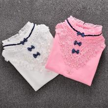 Children Clothing Girls Blouse 2016 New Spring Bow Lace Child Shirt Cotton Long Sleeve Shirt Girls Lace Blouse Kids Clothes(China (Mainland))