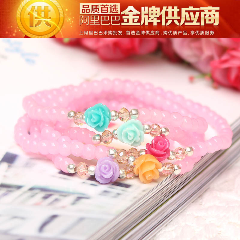 """Rushed Pulseira Masculina Pulseira Pulseras """"losing Treatment"""" Spread The Material Supply Women's 5 Flower Jewelry Bracelet(China (Mainland))"""