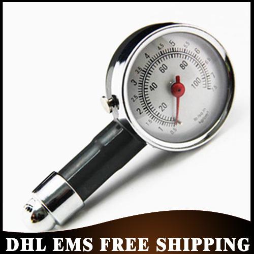 Free DHL EMS 100PCS/LOT Metal Car Dial Tire Gauge Meter Precision Pressure Tyre Measure tool Wholesale(China (Mainland))