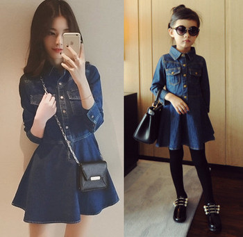 mommy and me dress denim long sleeve autumn fall children family look clothes mother daughter dresses