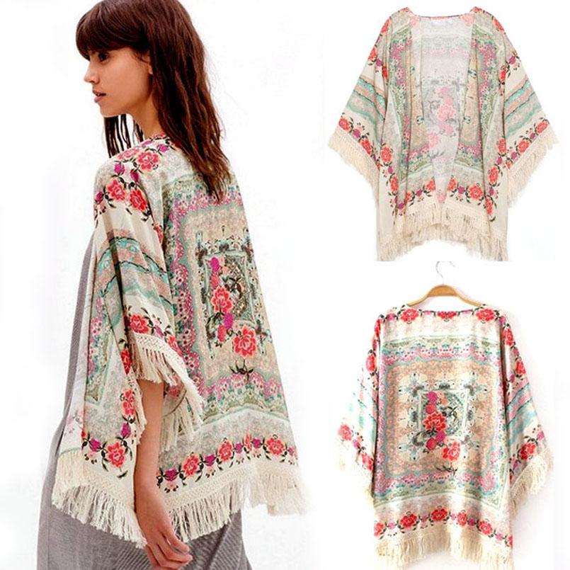 Sali 2015 New Summer Women Floral Loose Tassels Shawl Kimono Women Floral Loose Cardigan Coat  Shawl Kimono Cardigan Jacket(China (Mainland))