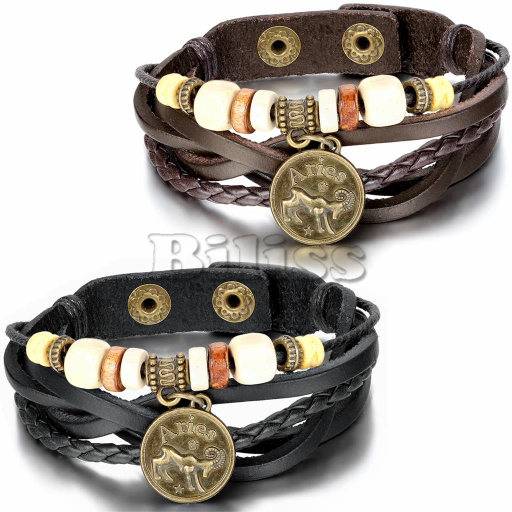 2015 Vintage Multilayer Braided Constellation Aries Charm Bracelets Bohemia Wristband Cuff Leather Bracelet For Women Men(China (Mainland))