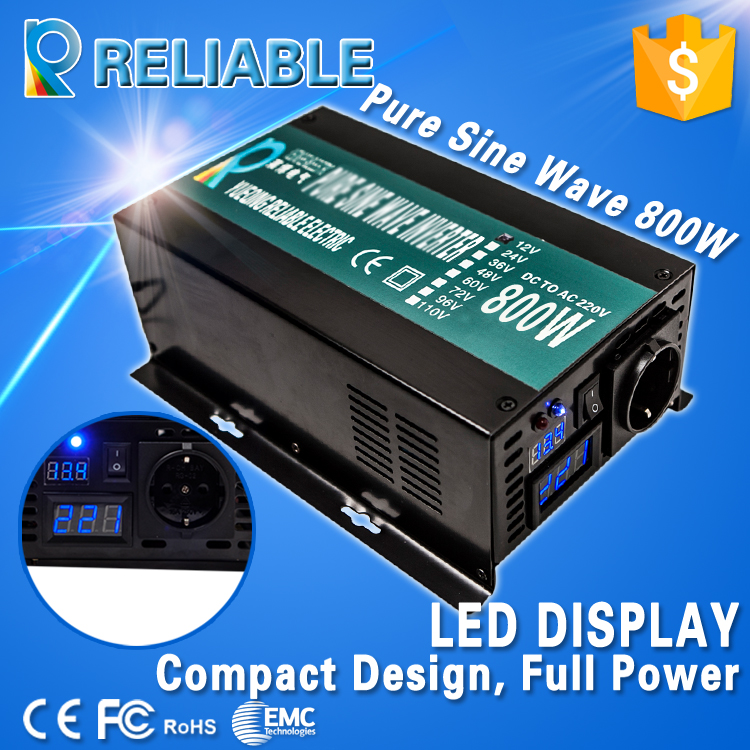 LED Display Off Grid Solar Inverter 800Watt/800W 12/24/48VDC to 110/220VAC 800W Rated Pure Sine Wave Power Inverter(China (Mainland))