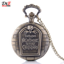 Antique Vintage Tim Burtons The Nightmare Before Christmas Pocket Watch Quartz Pocket Watch Skull Gifts P016