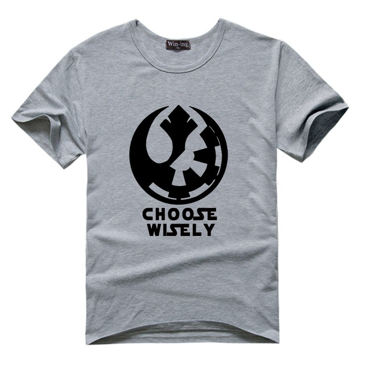 "New "" Choose Wisely "" Star Wars Galactic Empire Rebel Alliance Print T-shirt Cotton Unisex Sun Tee Shirts Teen Loose Homme Tops  HTB12QoQLVXXXXa1XXXXq6xXFXXXi"