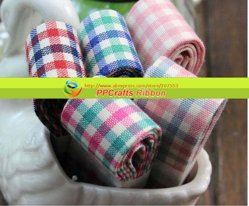 Bow Ribbon PPCrafts Ribbon   1'' (25mm)  Printed  Gingham  ribbon
