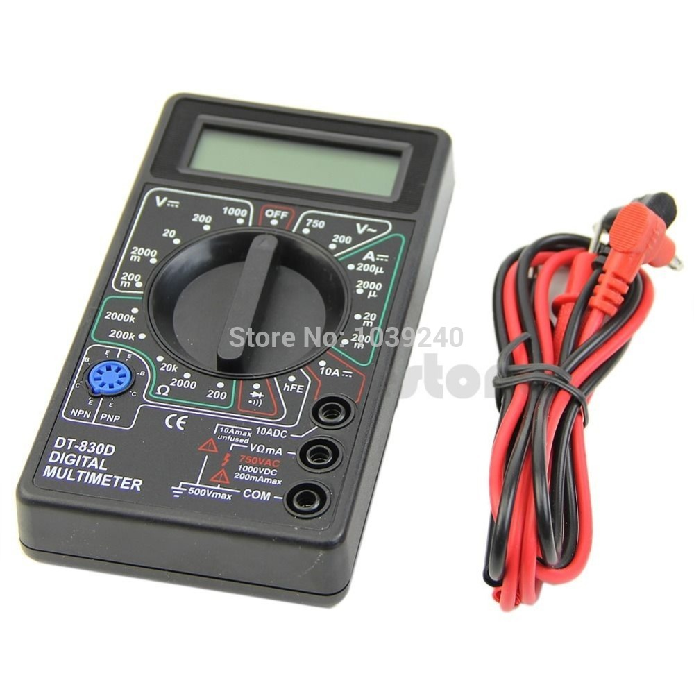 E74 Free Shipping Mini Digital Multimeter with Buzzer Voltage Ampere Meter Test Probe DC AC LCD(China (Mainland))